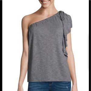 NWT a.n.a One Shoulder Top in Medium Grey